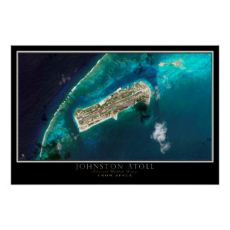 Johnston Atoll From Space Satellite Map Poster
