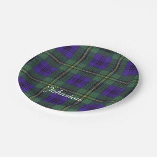 Johnston clan Plaid Scottish tartan Paper Plate