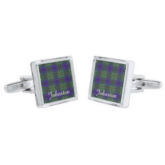 Johnston clan Plaid Scottish tartan Silver Finish Cufflinks