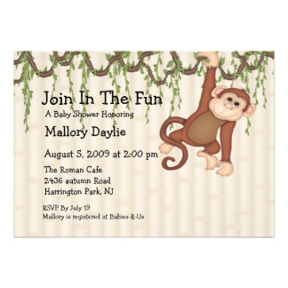 Join In The Fun Monkey Baby Shower Invites