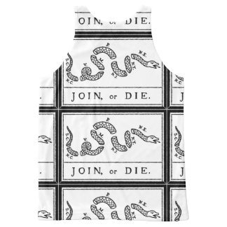 Join or Die - American Revolution - B Franklin All-Over Print Singlet