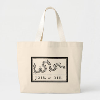 Join or Die - American Revolution - B Franklin Large Tote Bag