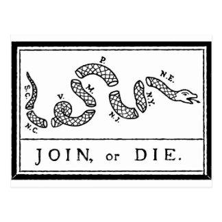 Join or Die - American Revolution - B Franklin Postcard