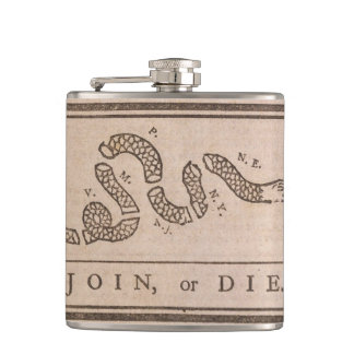 """""""Join or Die"""" Colonial Flag Hip Flask"""