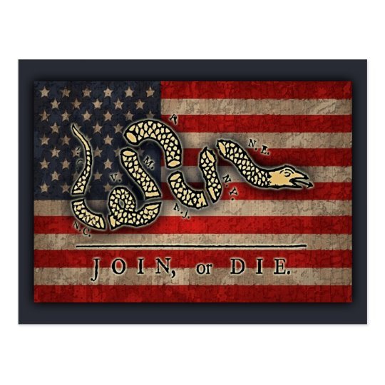 Join, Or Die -Flag Postcard
