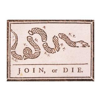 Join or Die ORIGINAL Benjamin Franklin Cartoon Stretched Canvas Print