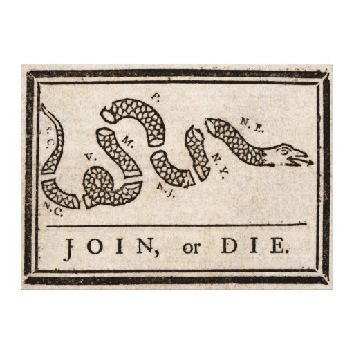 Join or Die Political Cartoon by Benjamin Franklin Stretched Canvas Print