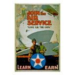 Join The Air Service ~ Give 'Er The Gun Poster