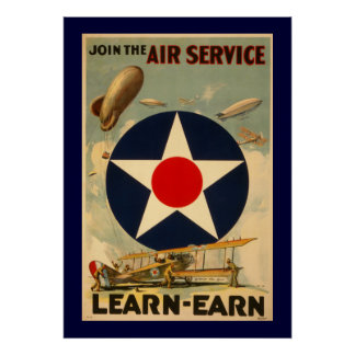 """Join The Air Service """"Learn-Earn"""" (Blue Border) Poster"""