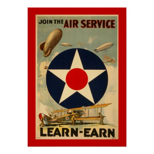 """Join The Air Service """"Learn-Earn"""" (Red Border) Posters"""