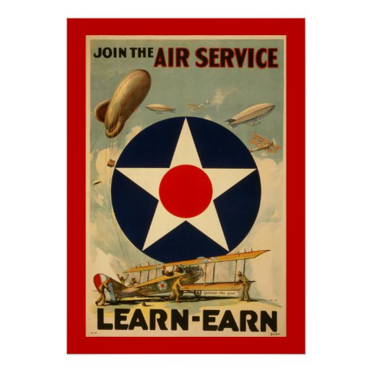 """Join The Air Service """"Learn-Earn"""" (Red Border) Poster"""