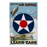 Join The Air Service Vintage Poster