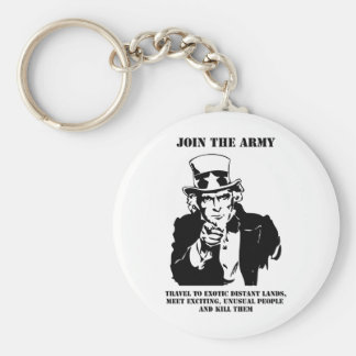 Join The Army Basic Round Button Key Ring