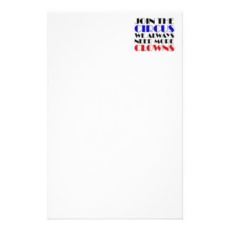Join the circus we always need more clowns stationery