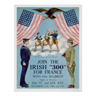 """Join the Irish """"300"""" for France (US02064) Poster"""