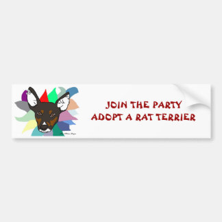 Join The Party Adopt A Rat Terrier Bumper Sticker