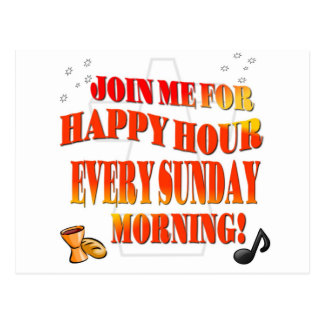 Join Us For Happy Hour Every Sunday Morning Postcard