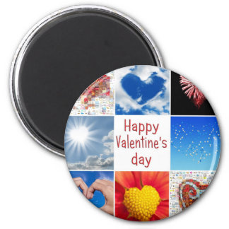 "Joining heart ""Happy Valentine' S day "" 6 Cm Round Magnet"
