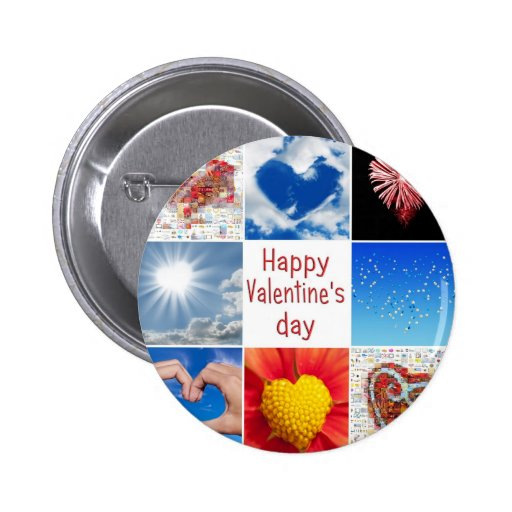 """Joining heart """"Happy Valentine' S day """" Pinback Buttons"""