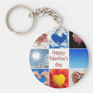 "Joining heart ""Happy Valentine' S day "" Basic Round Button Key Ring"