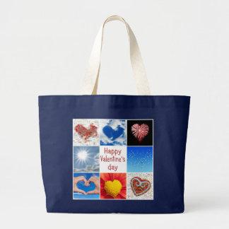 "Joining heart ""Happy Valentine' S day "" Jumbo Tote Bag"