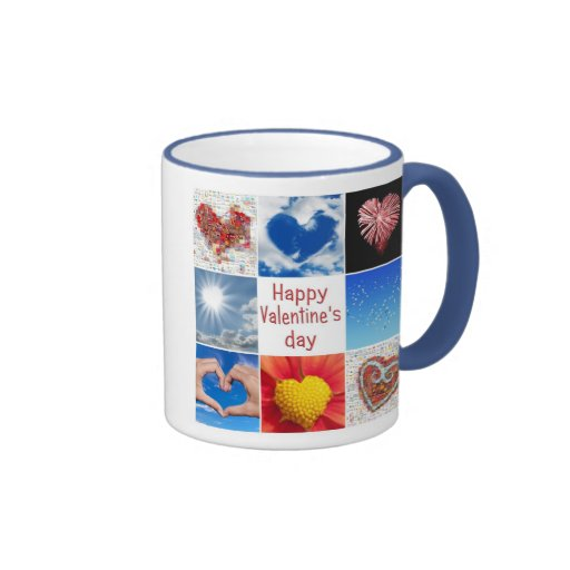 """Joining heart """"Happy Valentine' S day """" Mugs"""