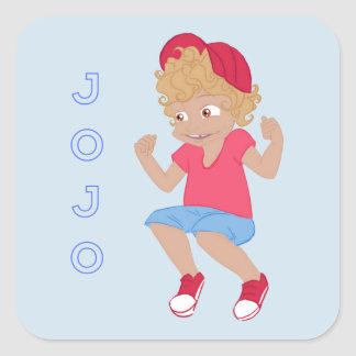 JoJo - Lt Blue Bkgrd Square Sticker