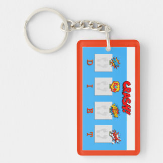 Joke on crash diets illustrations Single-Sided rectangular acrylic key ring