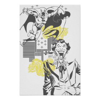 Joker and Batman Comic Collage Poster