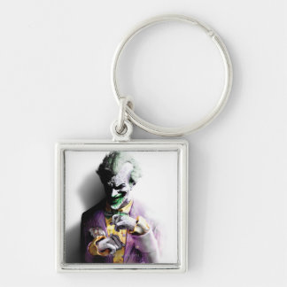 Joker Silver-Colored Square Key Ring