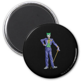 Joker stands with Cane 6 Cm Round Magnet
