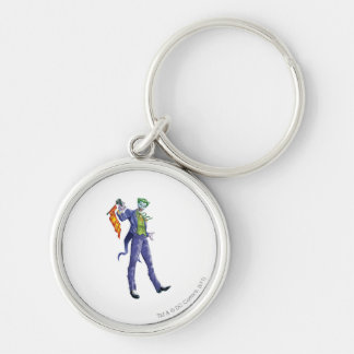 Joker stands with gun Silver-Colored round key ring