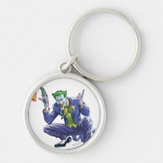 Joker with fake gun Silver-Colored round key ring