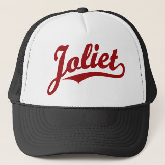 Joliet script logo in red trucker hat
