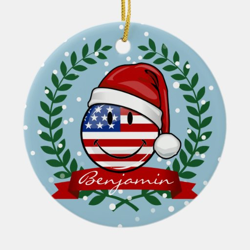 Jolly american flag christmas style round ceramic for American christmas decoration