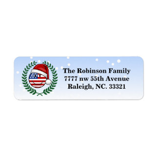 Jolly American Flag Christmas Style Return Address Label