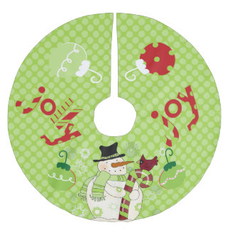 Jolly and Joy Snowman Holiday Tree Skirt