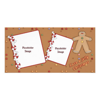 Jolly Christmas - Gingerbread Design Personalised Photo Card