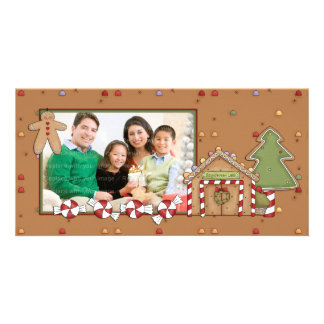 Jolly Christmas - Gingerbread House Personalized Photo Card