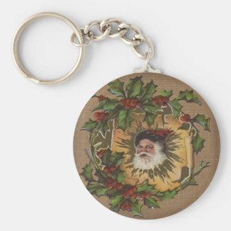 Jolly Christmas Santa Vintage Antique Basic Round Button Key Ring