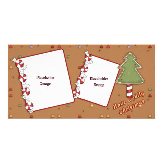 Jolly Christmas - Tree and Candy Customised Photo Card