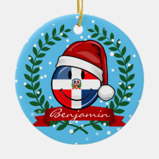 Jolly Dominican Republic Flag Christmas Ceramic Ornament