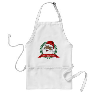 Jolly Ethnic Santa Custom Text Christmas Standard Apron