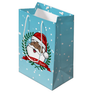 Jolly Ethnic Santa | Custom Text Medium Gift Bag