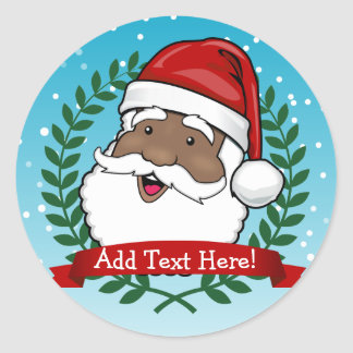 Jolly Ethnic Santa Custom Text Round Sticker