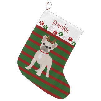 Jolly French Bulldog Buff Color Large Christmas Stocking