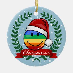 jolly gay pride flag christmas style ceramic ornament - Gay Pride Christmas Decorations