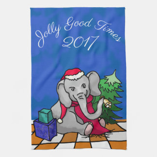 Jolly Good Times with Year Christmas Elephant Tea Towel