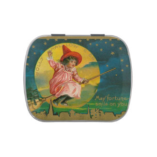 Jolly Halloween Vintage Witch Candy Tins