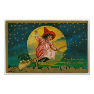 Jolly Halloween Vintage Witch Poster